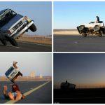 """شاهد .. سعوديون يؤدون حركات استعراضية """"خطيرة"""" بسياراتهم في تبوك"""