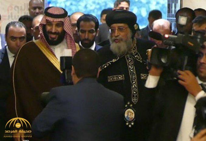 """شاهد ولي العهد """"محمد بن سلمان"""" يزور كاتدرائية العباسية ويلتقي البابا"""