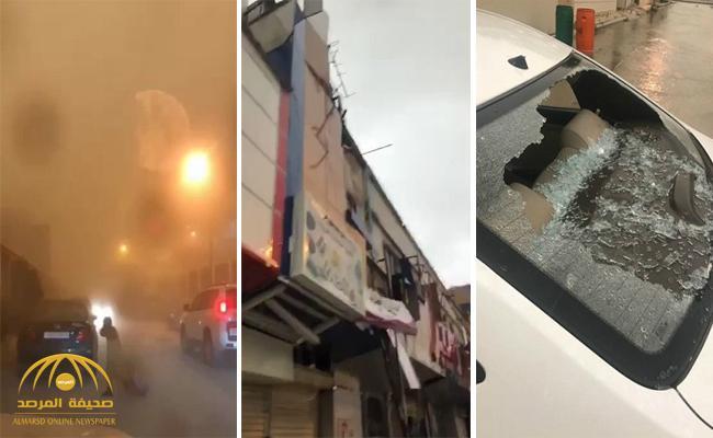 شاهد ماذا فعلت العاصفة الماطرة في مدينة بريدة