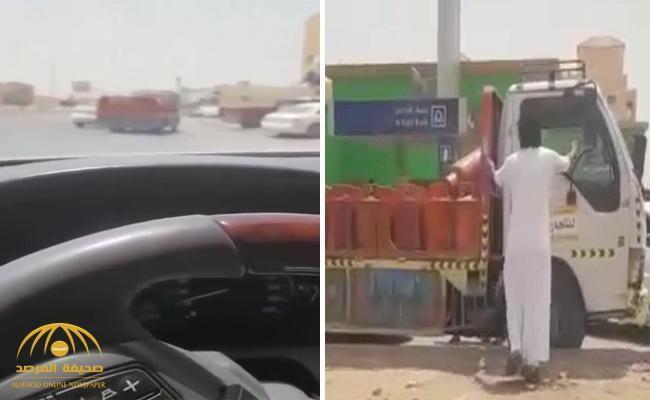 مفاجأة حول هوية قائد السيارة المتهور التي كانت تقل أسطوانات غاز بعد أن أوقفه مواطنون بالرياض ! – فيديو