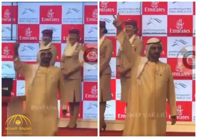 """شاهد .. كيف عبر الشيخ """"محمد بن راشد"""" عن فرحته بفوز جواده بكأس دبي العالمي للخيول"""