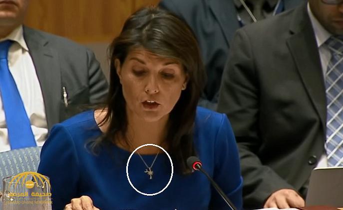 """ما سرّ """"النخلة والهلال"""" على صدر مندوبة واشنطن لدى الأمم المتحدة؟"""