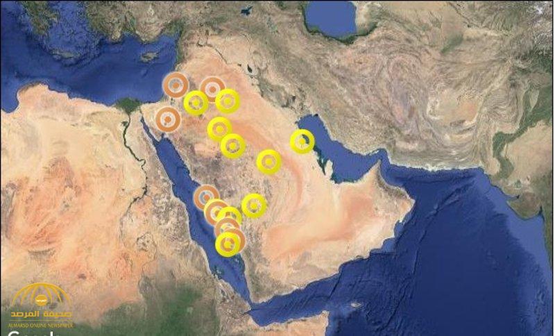 """""""الأرصاد"""" : رياح وأمطار رعدية مصحوبة بزخات برد على 9 مناطق"""
