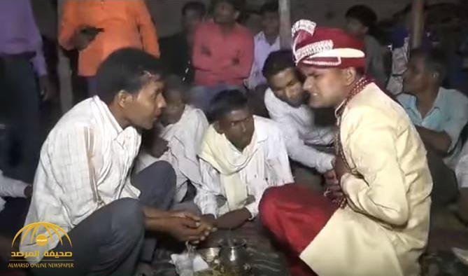 «الزفاف القاتل».. شاهد:  لحظة تلقي عريس هندي رصاصة في صدره.. ورد فعل غريب من الحاضرين