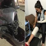 """بالصور.. إصابة الفنانة المصرية """"ياسمين نيازى"""" في حادث سير وتهشم سيارتها!"""