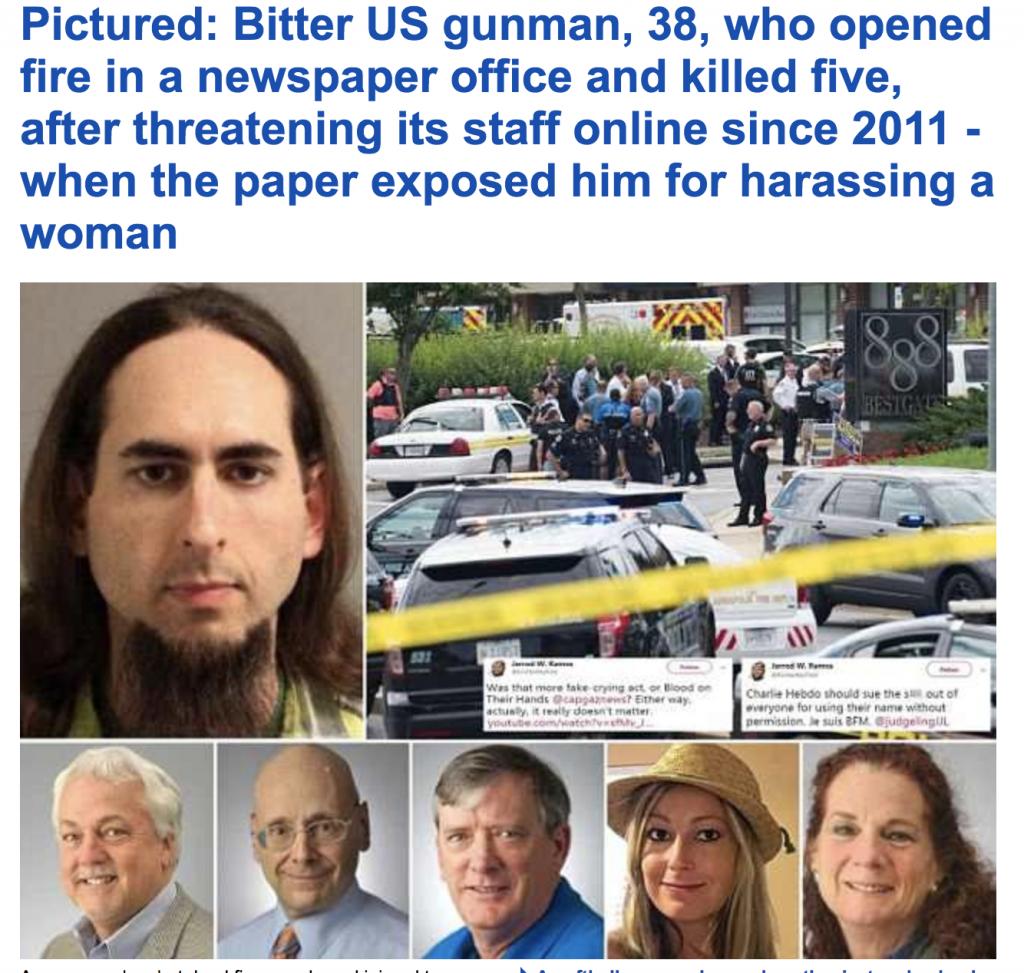 الكشف عن دوافع الهجوم المسلح  على الصحيفة الأميركية ومقتل 5 من العاملين فيها