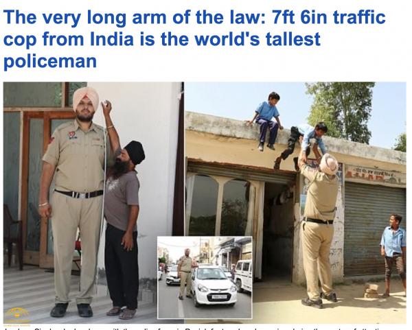 """بالصور: شاهد.. """"سينغ"""" أطول شرطي في الهند ينسف أسطورة مزعومة لمواطنه """"كومار"""".. وهذا هو طوله ووزنه!"""