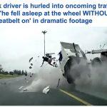 شاهد .. حادث شاحنة مروع وسائقها يطير في الهواء من النافذة ونهاية مأساوية!