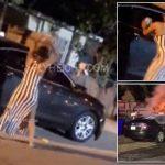 بالفيديو.. سيدة تنتقم من عشيقها وتحرق سيارته