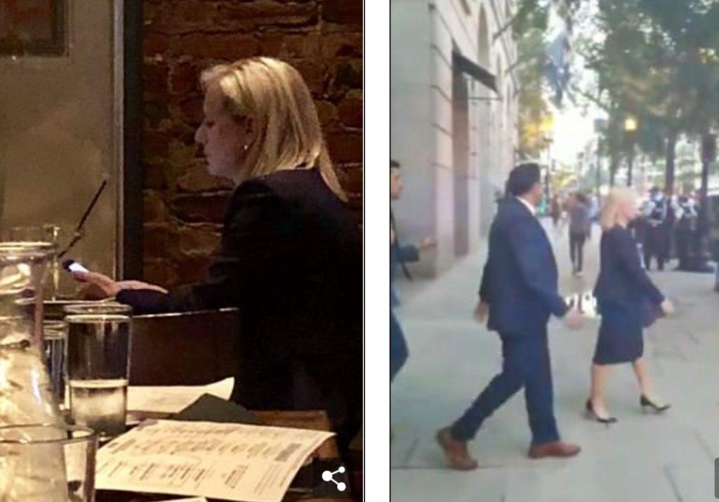 شاهد: محتجون ينغصون عشاء وزيرة أميركية خلال تواجدها بمطعم مكسيكي.. هكذا جاء رد فعلها