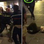 بالفيديو .. شرطي يعتدي على فتاة بالضرب و يسقطها أرضاً أمام المارة