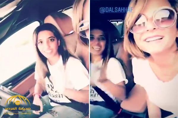 شاهد .. فتاتان من الكويت توثقان لحظة دخولهما المملكة وإحداهما تقود السيارة لأول مرة