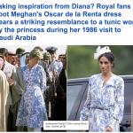 """شاهد.. """"ميغان"""" تعيد الأميرة ديانا إلى الذاكرة بفستان أنيق.. ارتدت الراحلة مثله أثناء زيارة المملكة في 1986"""
