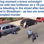 """شاهد: مشاجرة في شوارع لندن .. طعن """"شاب"""" بالسكاكين .. وتصرف """"مفاجئ"""" من زميلاته!"""