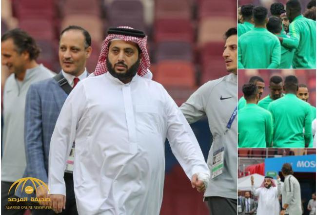 بالصور والفيديو .. تركي آل الشيخ يجتمع بلاعبي الأخضر قبل بدء التدريب الأخير