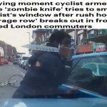 """بالفيديو .. لحظات مرعبة لهجوم شخص بسكين """"زومبي"""" على قائد سيارة في لندن"""