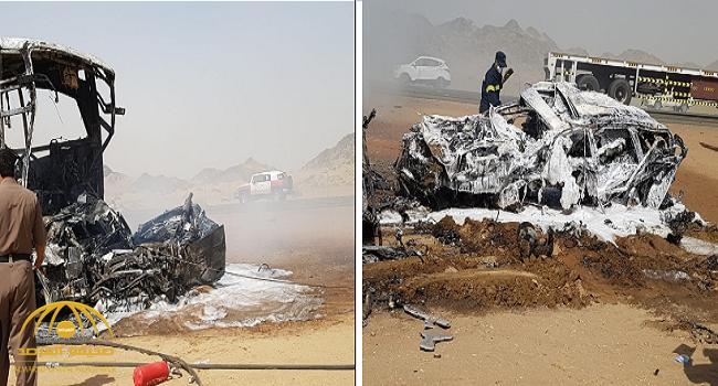 6 وفيات و6 إصابات في تصادم حافلة مروع قبل كوبري خليص باتجاه مكة – صور