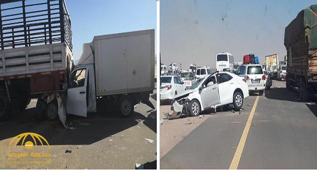 بالصور.. حادث مروع بالمدينة: تصادم جماعي بين عدة سيارات على طريق الهجرة.. وهذه حصيلة الوفيات والمصابين!