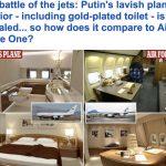 """تحتوي على غرفة نوم وحمام مطلي بالذهب .. شاهد بالصور كيف تبدو طائرة الرئيس الروسي """"بوتين"""" من الداخل ؟"""