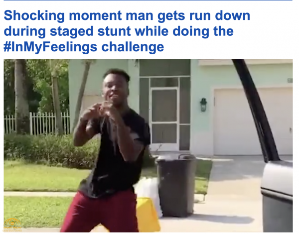 """خطط للقفز على سيارة قادمة.. شاهد بالفيديو : ماذا حدث لشاب رقص """"كيكي"""" في شارع بأميركا"""