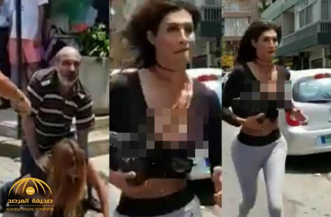 بعدما اكتشف أنها كانت رجل وأخذت منه 200دولار .. شاهد: لبناني يضرب متحولة جنسياً في شارع عام ببيروت