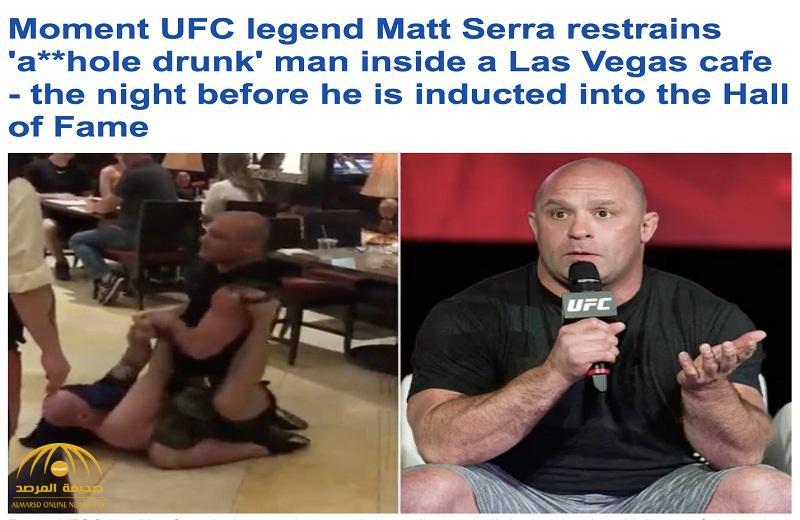"""شاهد .. ماذا فعل بطل فنون قتالية في رجل مخمور داخل مقهى في """"لاس فيغاس"""""""