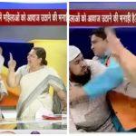 شاهد .. تبادل الصفعات بين رجل دين ومحامية هندية على الهواء