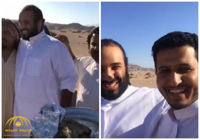 شاهد .. ولي العهد يتناول الطعام مع المواطنين في صحراء نيوم !