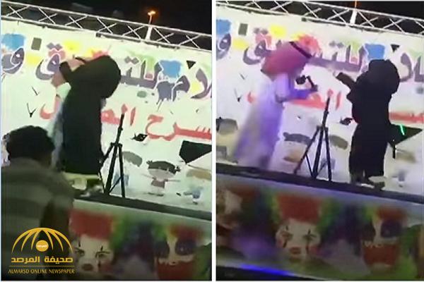 """بالفيديو : مشهد ساخر لواقعة احتضان فتاة عكاظ لـ"""" ماجد المهندس"""" في مهرجان بالمدينة!"""