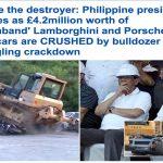 """فيديو وصور .. شاهد الرئيس الفلبيني يشرف على تدمير سيارات """"بورش ولامبورغيني""""  أسفل """"بلدوزر"""""""