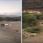 شاهد: سيل يجرف سيارة وانيت وتنقلب بقائدها في العارضة