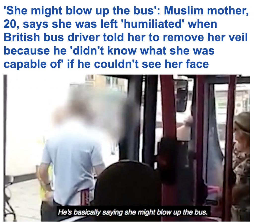 بالفيديو:  سائق حافلة في بريطانيا يطالب فتاة مسلمة بإزالة النقاب عن وجهها خوفا على سلامة الركاب!
