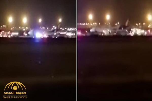 إشتعال محركات طائرة أثناء إقلاعها من مطار الملك خالد بالرياض – فيديو
