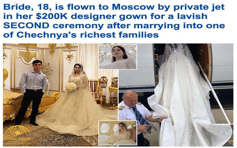 """فستان بـ 155 ألف جنيه استرليني وكعكة بـ 35 ألف .. بالصور : زفاف أسطوري لـ """"شيشانيين"""" في موسكو"""