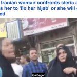 شاهد بالفيديو : إيرانية شجاعة تخلع حجابها عندما طلب منها رجل دين ضبطه أو سجنها !