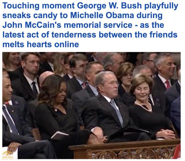 """بالفيديو : """"حميمية"""" جورج بوش وميشيل أوباما في جنازة ماكين .. شاهد: ردة فعل أوباما!"""