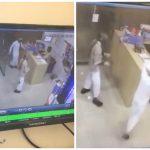 شاهد بالفيديو .. عامل بقالة  شجاع  يواجه ببسالة لصين حاولا السطو وسرقة الخزينة بالقوة !