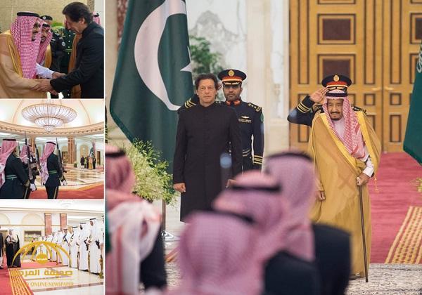 """أقام مأدبة غداء تكريماً له .. شاهد بالصور : لحظة استقبال  """"خادم الحرمين """" رئيس وزراء باكستان"""