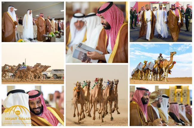 """شاهد بالصور .. """"ولي العهد"""" يسلم الجوائز للفائزين بالمراكز الأولى في مهرجان سموه للهجن"""