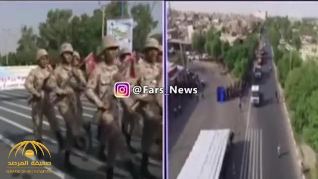 """شاهد .. أول فيديو لحظة """"هجوم المنصة"""" وهروب الجنود خلال عرض عسكري في إيران"""