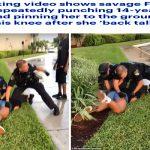 شاهد شرطي أمريكي يوجه وابل من اللكمات لفتاة في فلوريدا