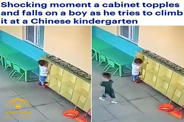 """شاهد .. ماذا حدث لطفل حاول تسلق """"دولاب"""" داخل روضة أطفال !"""