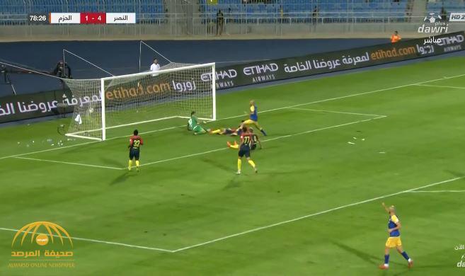 بالفيديو : النصر يسحق الحزم بخمسة أهداف