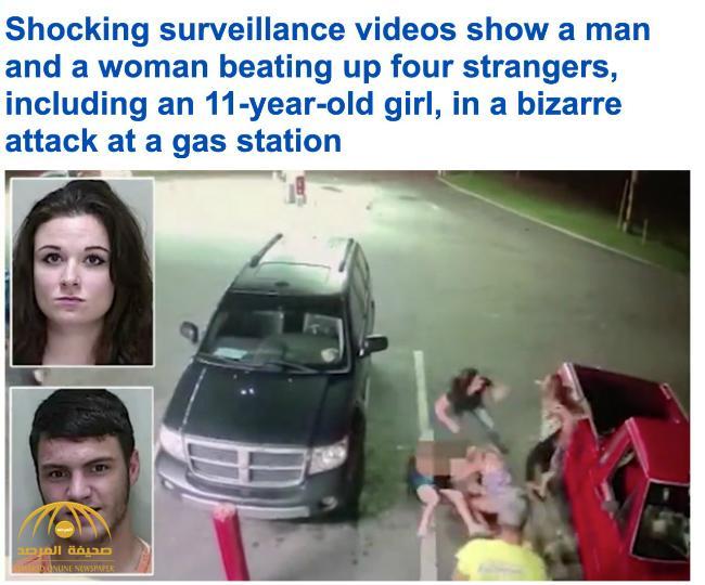 """شاهد: معركة وحشية ولكمات على الوجه بين """"نساء"""" أمام محطة بنزين في أمريكا!"""
