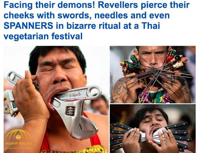 """تقطيع الوجوه بالسكاكين والمفكات .. شاهد بالصور .. طقوس احتفالية """"مجنونة"""" في تايلاند تقرباً للألهة !"""
