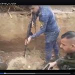 """شاهد فيديو يوثق لحظة انتشال """"داعشي"""" من تحت التراب حيا في العراق!"""