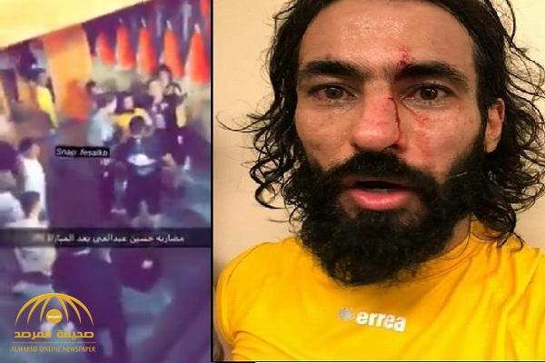 """شاهد بالفيديو والصور .. لحظة اعتداء اللاعب """"حسن معاذ"""" على """"حسين عبدالغني"""""""