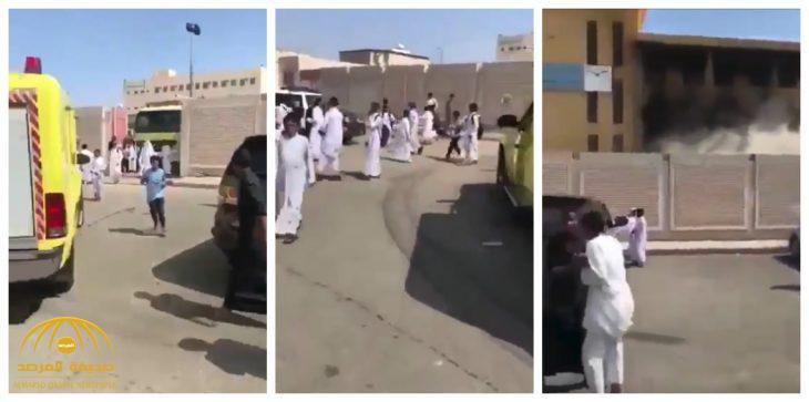 بالفيديو : حريق بمدرسة متوسطة في حي الخالدية بالمدينة .. وإدارة التعليم تكشف الملابسات