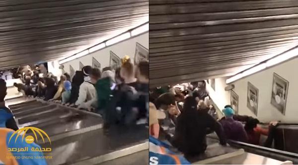 أحدهم فقد ساقه .. شاهد انهيار سلم كهربائي وإصابة 20 شخصا في روما