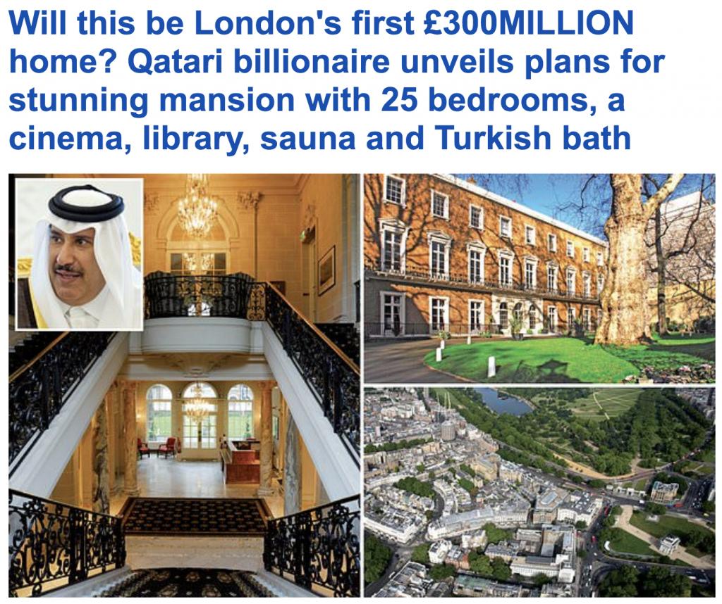 وزير خارجية قطر السابق يشتري قصر فخم في وسط لندن بمبلغ خيالي !-صور
